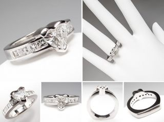 Heart Cut Diamond Engagement Ring w/ Princess Cut Accents 14K White
