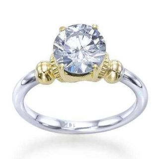 54 Carat G SI2 Two Tone Gold Round Band Diamond Engagement Ring