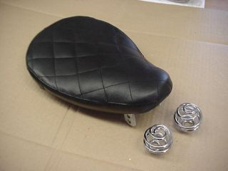 Solo Seat Custom Bobber Harley w Springs Black Leather Diamond
