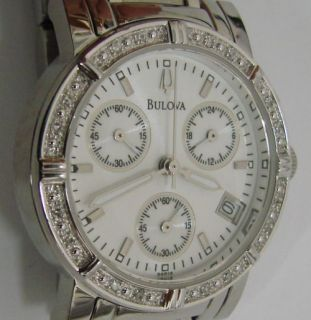 Ladies Bulova Diamond Chronograph Quartz Watch