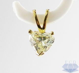 53 Ct Heart Shape Cut VS2 Real Diamond Solitaire Pendant 14kt Yellow