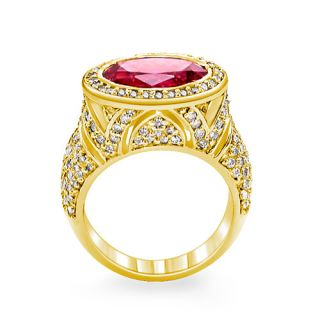 6ct Pink Tourmaline Diamond Anniversary Ring 14k Gold Y
