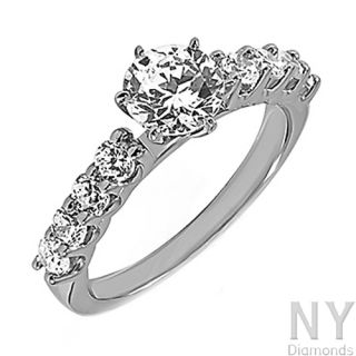 Ct Ladies Womens White Gold Round Cut Diamond Engagement Wedding Ring
