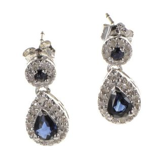 10K White Gold Sapphire Diamond Drop Earrings