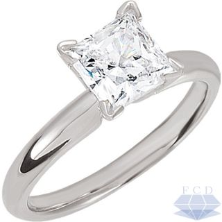 11 CT PRINCESS REAL Diamond Solitaire Engagement Ring 14KT WHITE GOLD