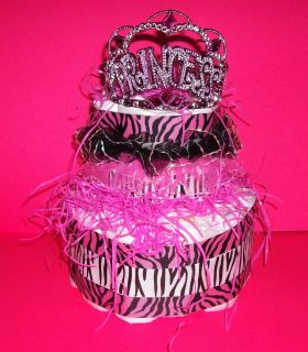 Princess Hot Pink Zebra Print Diaper Cake