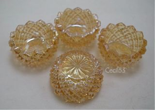 Marigold Glass Diamond Point Open Salt Cellar Dips