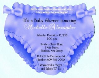 Die Cut Diaper with Bows Personalized Baby Shower Invitations with