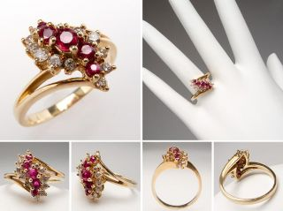 Natural Ruby Diamond Ring Waterfall Motif Solid 14k Yellow Gold Estate