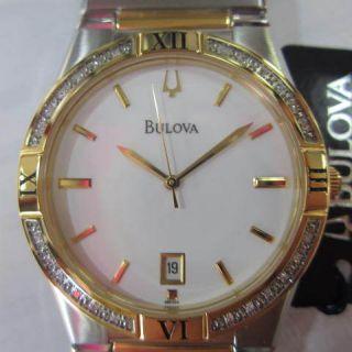 BULOVA JAPAN MENS WATCH QUARTZ DIAMOND LUXURY ALL STAINLESS S TWO TONE