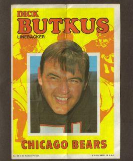 1971 Dick BUTKUS Topps NFL Football Mini Poster card Game Chicago