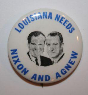 Nixon and Agnew Jugate Louisiana Campaign Button Political Pinback Pin