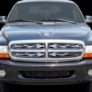 Dodge Durango 97 04 Chrome Flame Fire Grille Insert Stainless Steel