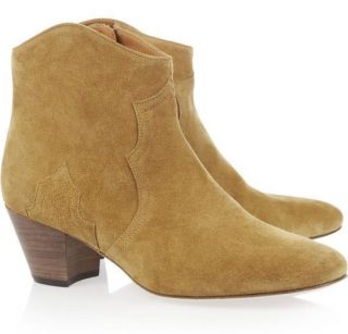 New Womens Isabel Marant Shoes Dicker Suede Ankle Boots Brown Size