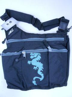 DIAPER DUDE Diaper Bag for Dad Messenger Black With Dragon 100D