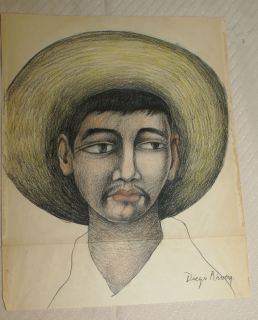 Original Drawing on Rize Paper Signed Diego Rivera