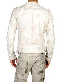 Diesel Legat White Leather Jacket Size L 100 Authentic