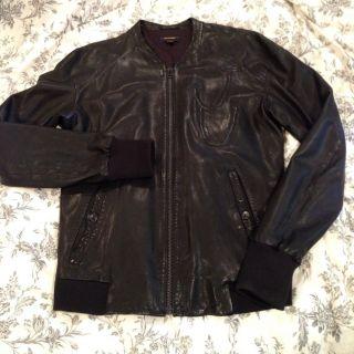 Diesel Black Gold Leather Jacket in Coats & Jackets