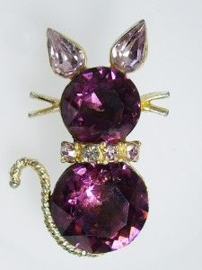 Vintage Dodds Amethyst Purple Glass Rhinestone Kitty Cat Pin Brooch 1