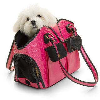 Lulu Pink Quilted Hearts Pink Black Small Dog Carrier Bag Purse