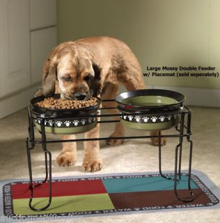 Elevated Dog Feeder Double Dish Station Emerald Green Paw Print Bowls