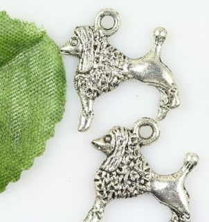 Wholesale lot 10pcs two sided silver dog charms pendants 18mm