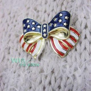 Vintage Patriotic American Flag Design Bow Pin Brooch