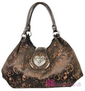 Designer Inspired Heart Love Fashion Flap Top Hobo Handbag Purse Brown