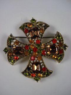 Vintage Kramer Rhinestone Maltese Cross Brooch Pin Designer Signed NR