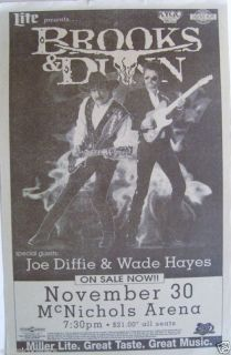 Brooks Dunn 1996 Denver Concert Tour Poster Country