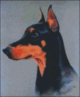Doberman Pinscher Dog Cross Stitch Pattern