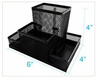 Black Mesh Desk Organizer, 4 Compartments, 6x4x4, metal steel