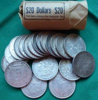 Morgan Dollars Roll of 20 Approx 15 469 oz Silver