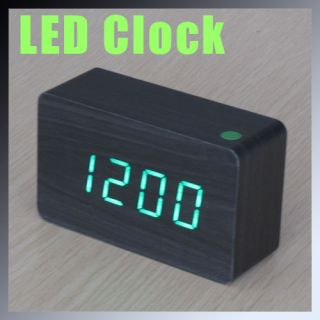 LED Wooden Wood Desktop USB AAA Digital Alarm Clock Night Light