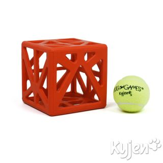CAGEY CUBE DOG TOY PUZZLE Rubber Cage Tennis Ball Puppy Dog Toy
