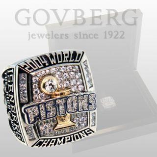 2004 Detroit Pistons NBA Championship 14kt Gold Diamond Ring Original