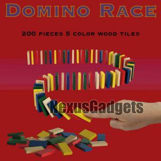 Dominoes Race Game Set 200 Unmarked Wooden Pieces 5 Colors Kids Racing