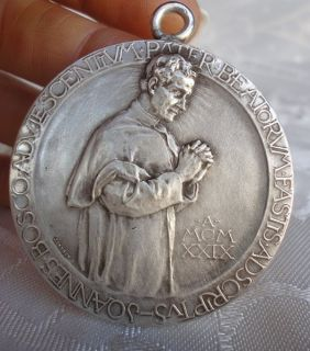Unique Antique Our Lord Jesus Holy Mary St Joannes Bosco Big Medallion