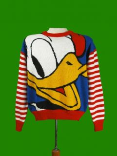 vtg donald duck disney acrylic sweater mickey co l