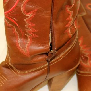 Dingo Brand Brown Leather Western Cowboy Fashion Boots Womens Sz 8 5 M