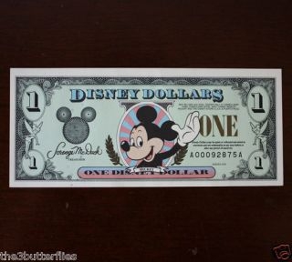 DISNEY DOLLAR Lot Set MICKEY DONALD MINNIE GOOFY CRISP RARE NOTES