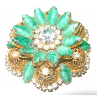 HUGE VINTAGE JULIANA FILIGREE GREEN RHINESTONE GOLD TONE BROOCH PIN