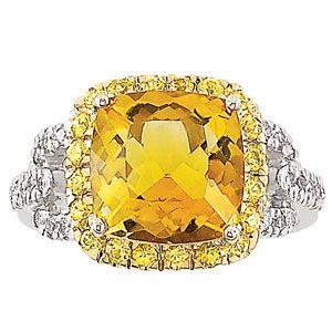 beautiful 14k white gold citrine yellow sapphire diamond filigree ring