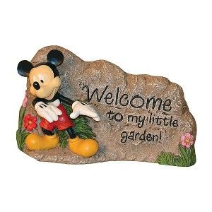 DISNEY GARDEN ROCK LAWN ORNAMENT WELCOME SIGN STATUE OUTDOOR   MICKEY