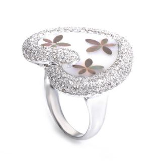 18K White Gold Mother of Pearl Diamond Heart Ring
