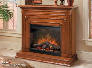 Dimplex Dorset Electric Fireplace Pecan Finish Cabinet