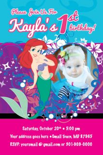 Princess ARIEL Mermaid Invitation Printable Birthday Party Disney 1st