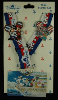 Disney pin HKDL Marine Series Mickey Stitch Mini Starter Lanyard Set 2