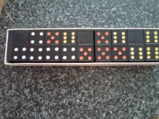 OF 2 1970s ARTMARK DOUBLE SIX COLOR DOT DOMINOES GAME NEW OLD STOCK
