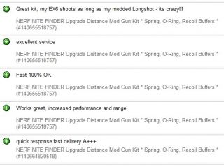 NERF NITE FINDER Upgrade Distance Mod Gun Kit * Spring, O Ring, Recoil